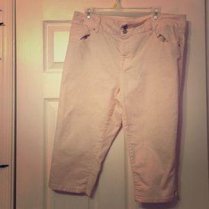 Light pink jean capris
